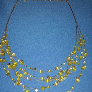 Five Tiny Strands of Peridot & Sea Glass